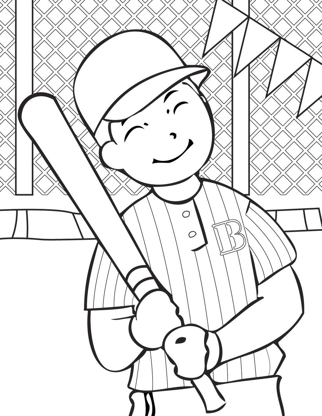 baseball coloring and activity page for children