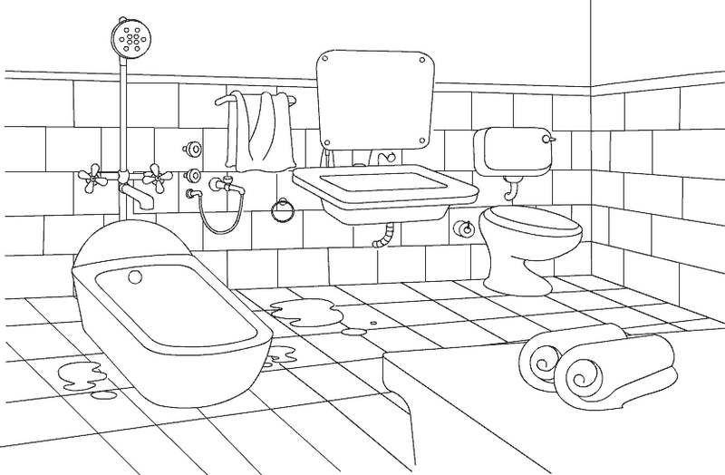 bathroom hotel coloring page printable
