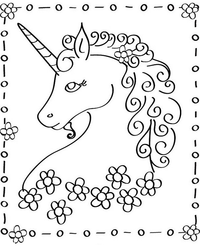 beautiful head of unicorn coloring sheet