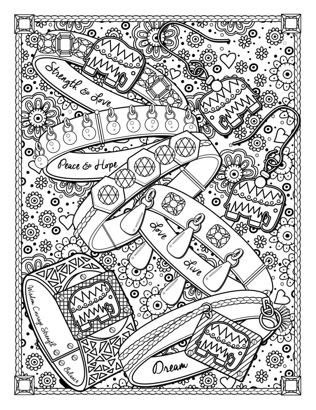 beautiful jewelry doodle coloring book