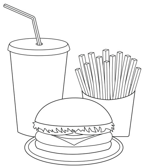 burger fries and drinks coloring books