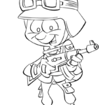cartoon soldier kids coloring printable page