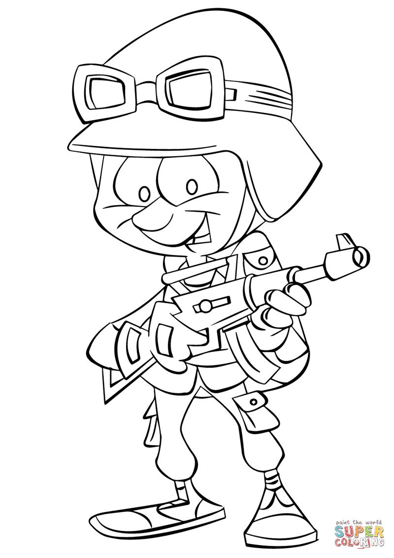 cartoon soldier kids coloring printable page