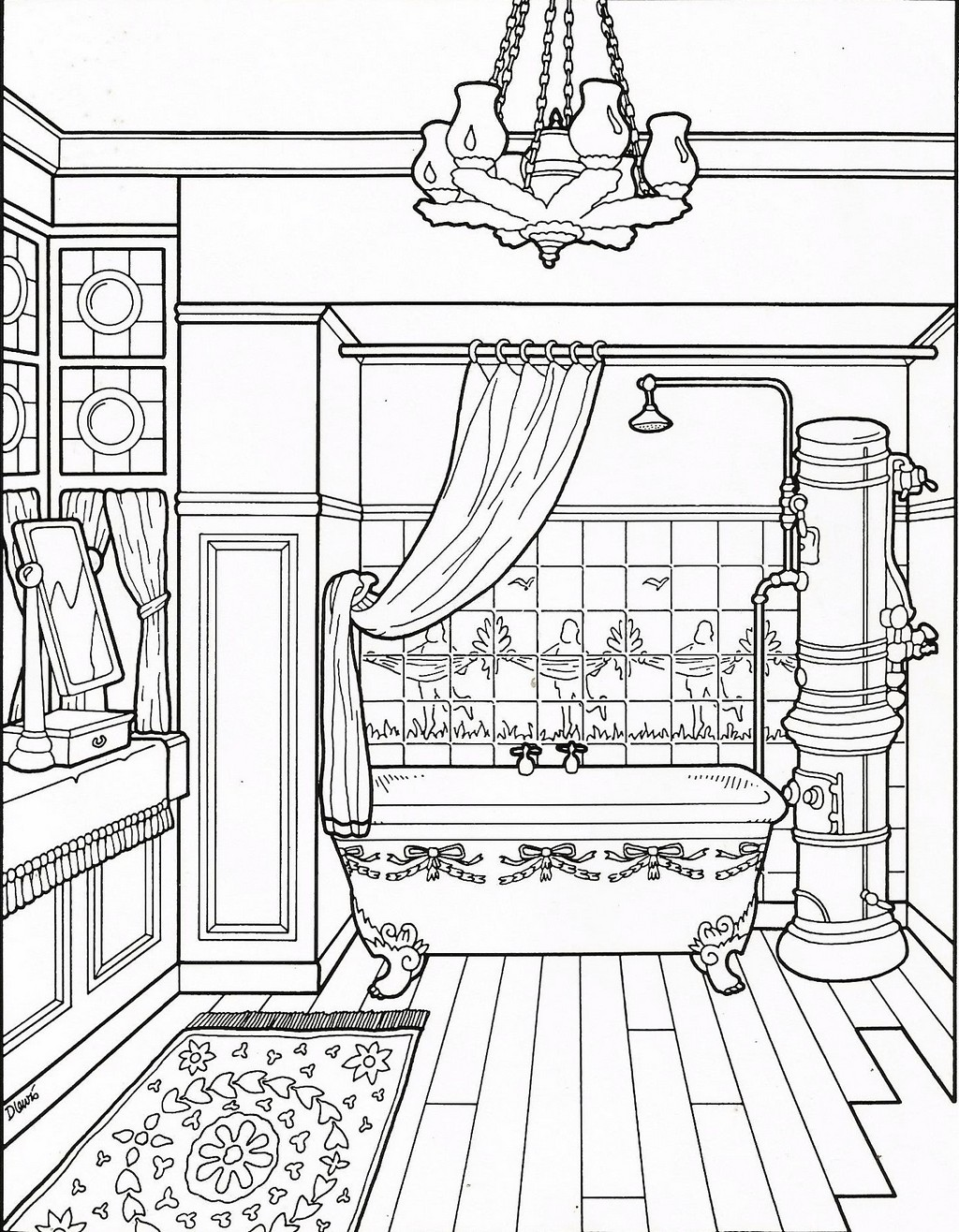 clean bathroom coloring sheet