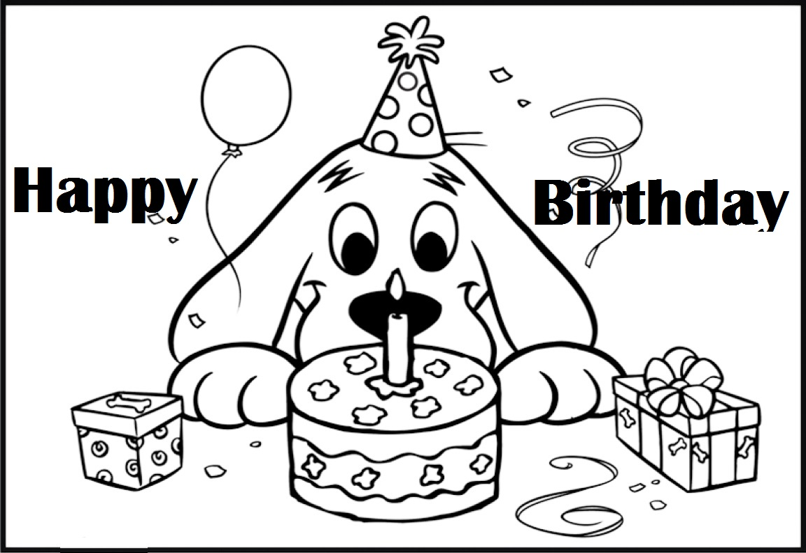 Clifford birth day themed coloring pages for Clifford coloring pages