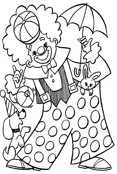 clown circus coloring page for kids
