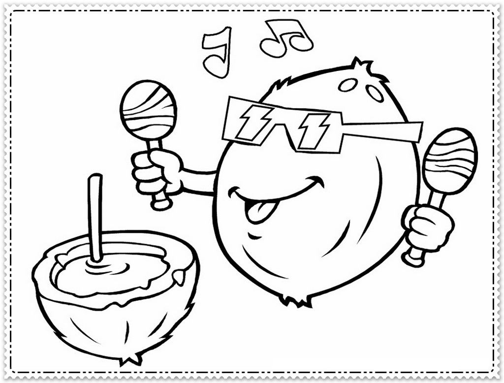 coconut drink printable coloring pages