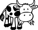 Beautiful Cow Grayscale Coloring Pages
