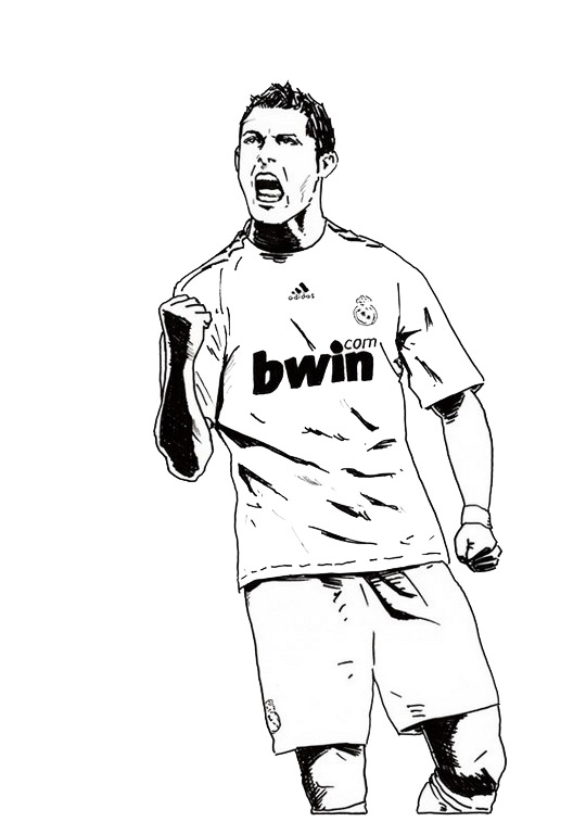 cristiano ronaldo real madrid coloring soccer player sheet