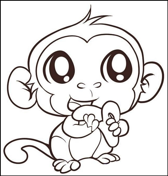 cute baby monkey animal coloring sheet