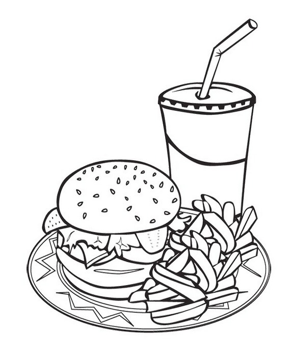 drinks and burger coloring pictures