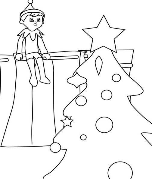 elf on the shelf and christmas tree coloring page