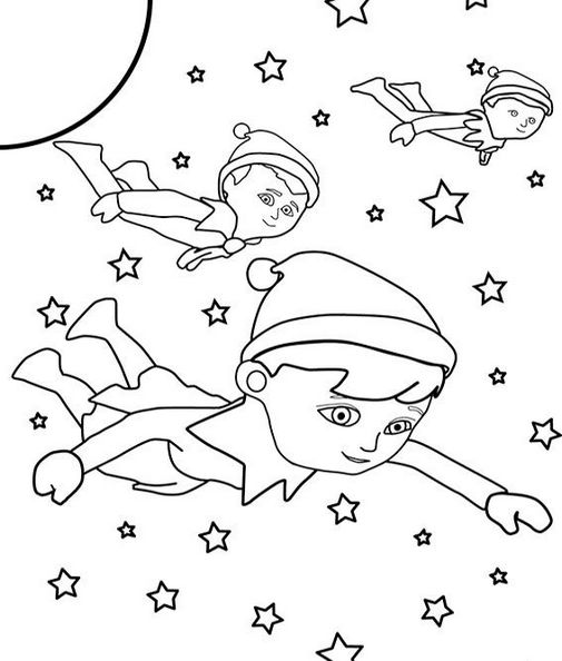 elf on the shelf outer space coloring sheet