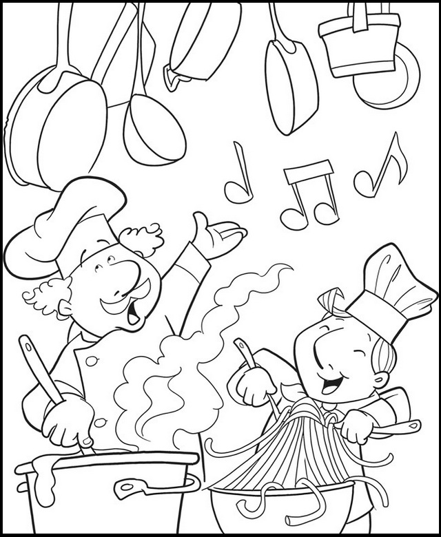 fun chef cooking in the kitchen coloring page