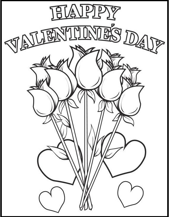 greeting valentine day with flower card coloring page