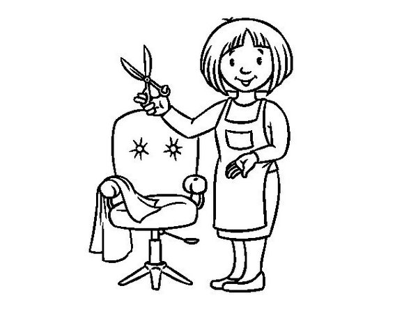hairdresser barbershop coloring picture