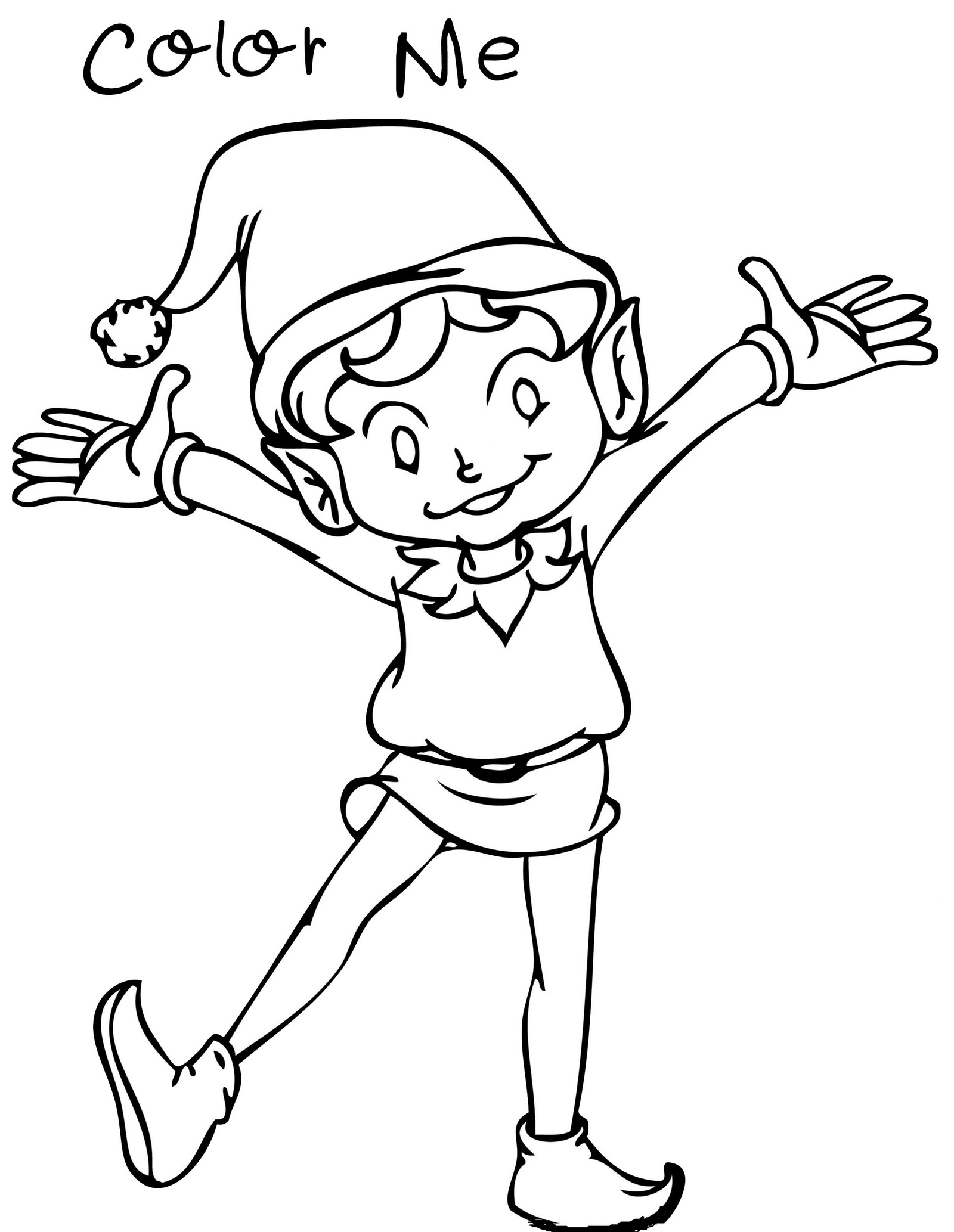 happy elf on the shelf coloring