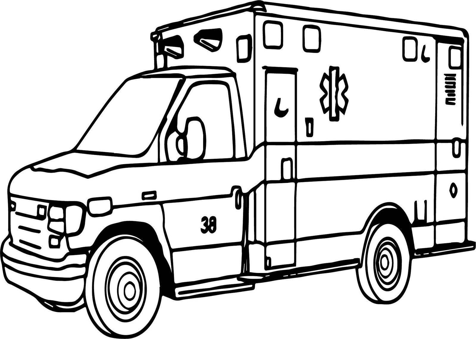 hospital medical care facility ambulance coloring sheet