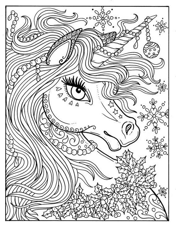 intricate unicorn head coloring page