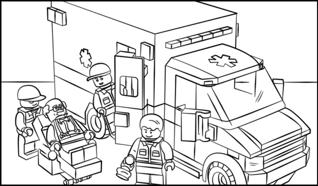 lego ambulance coloring sheet
