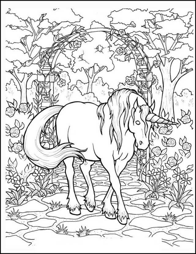 magical unicorn coloring sheet
