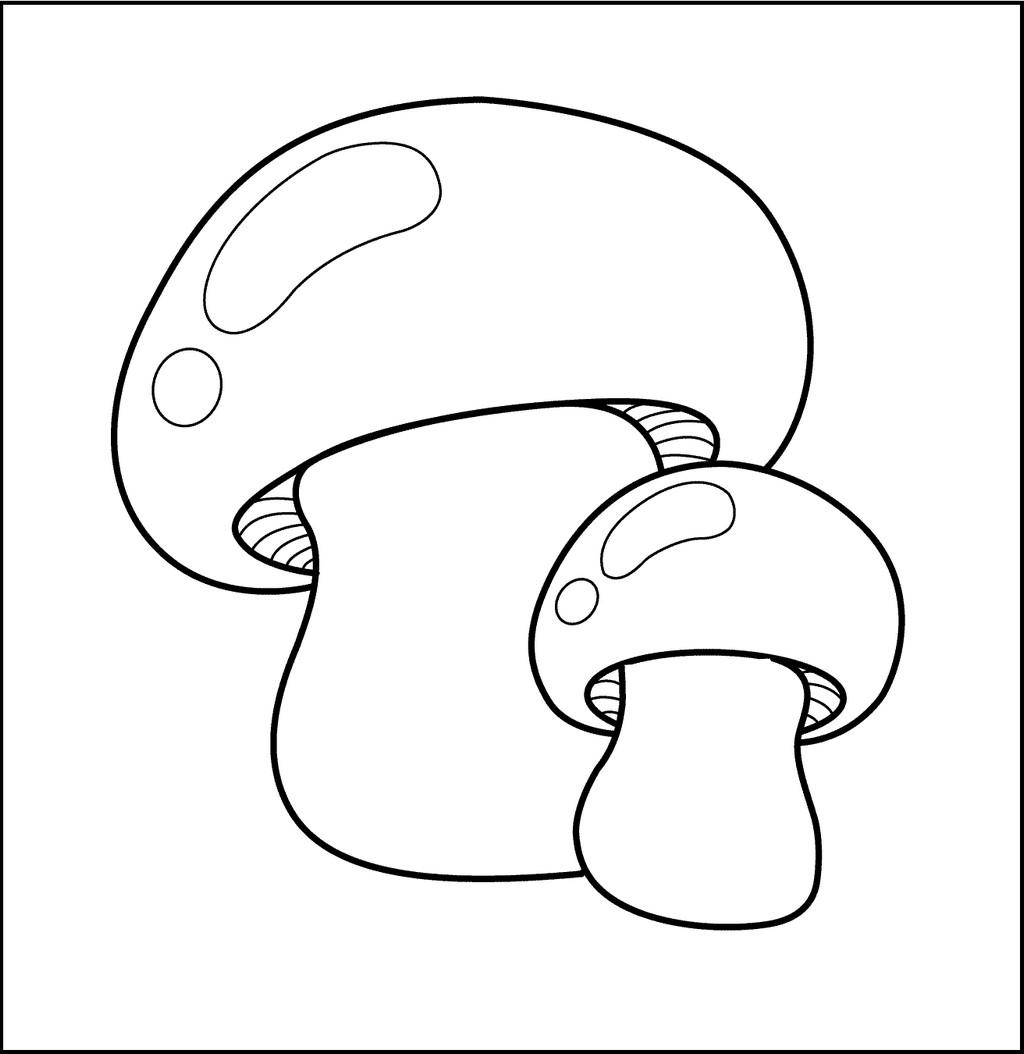 mushrooms coloring sheet for kids
