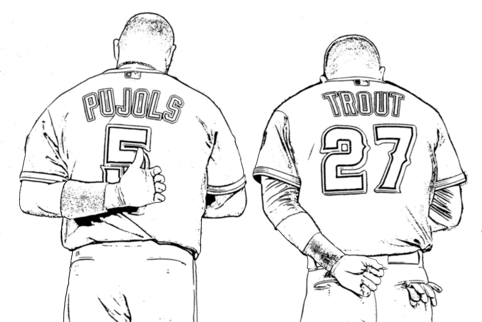 pujols and trout baseball players coloring page
