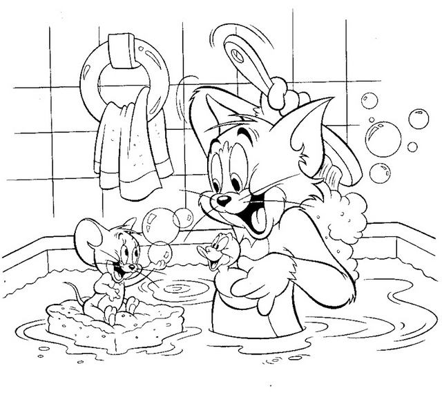 tom and jerry bathroom coloring sheet
