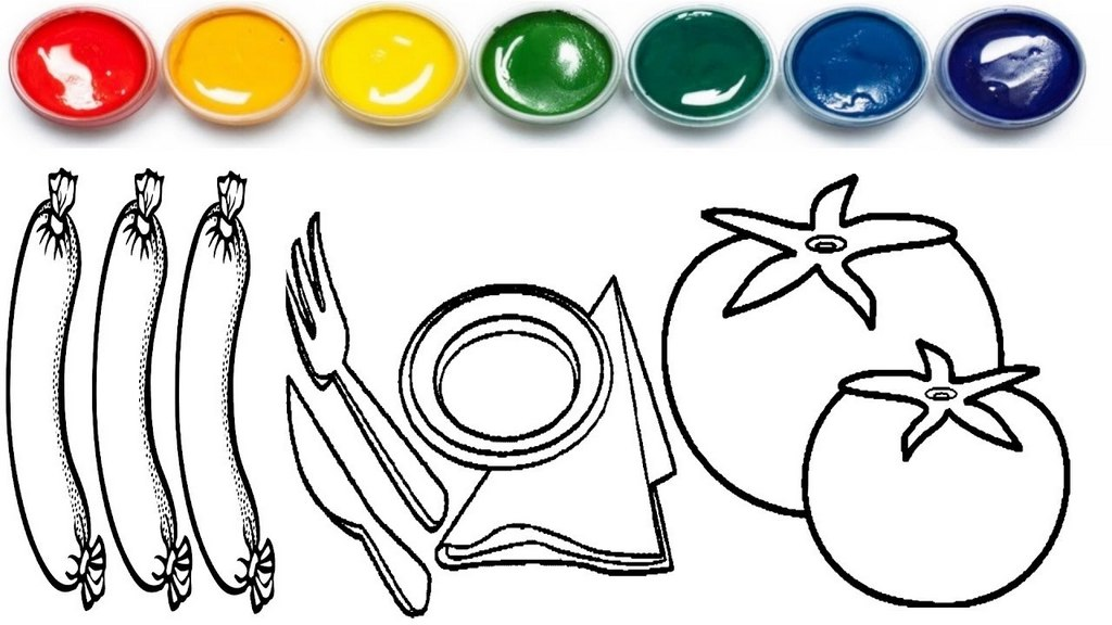 tomato coloring and drawing painting sheet