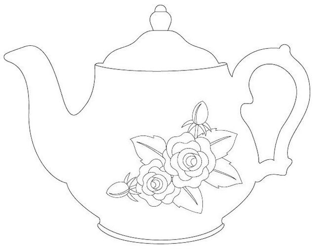 vintage teapot coloring book