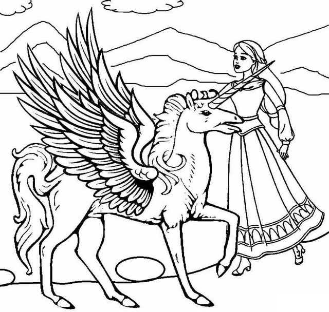 winged unicorn pegasus and princess coloring sheet