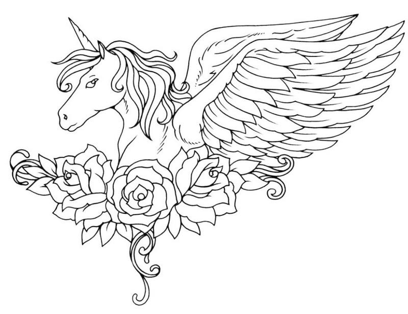 winged unicorn with flowers coloring picture