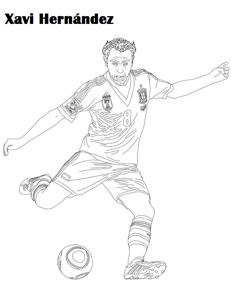 xavi hernandez soccer player coloring sheet