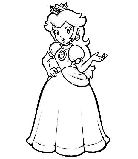 Beautiful Princess Peach Coloring Picture