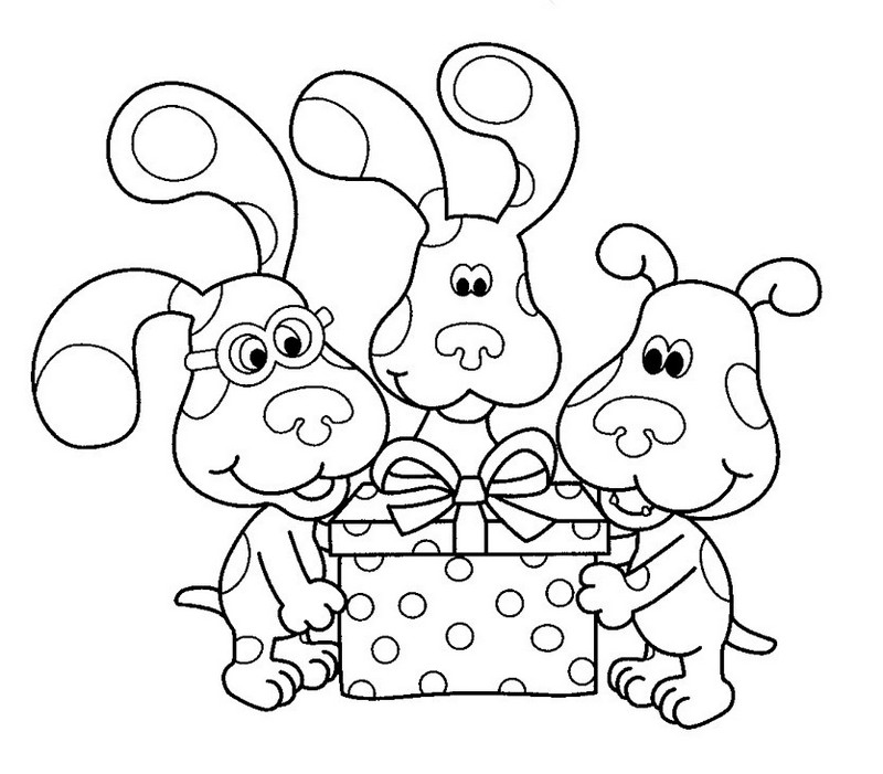 Blues Clues opening a gift coloring picture