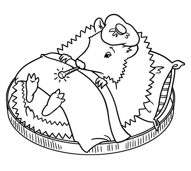 Cute Hedgehog getting sick coloring sheet for kids
