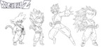 Goku Super Saiyan Coloring Pages Printable with Various Transformations