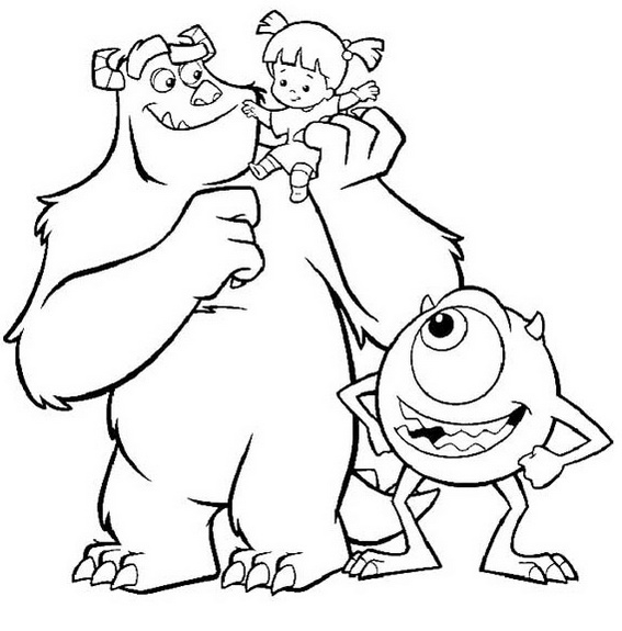 Happy and Fun Monster Inc coloring pages for kids