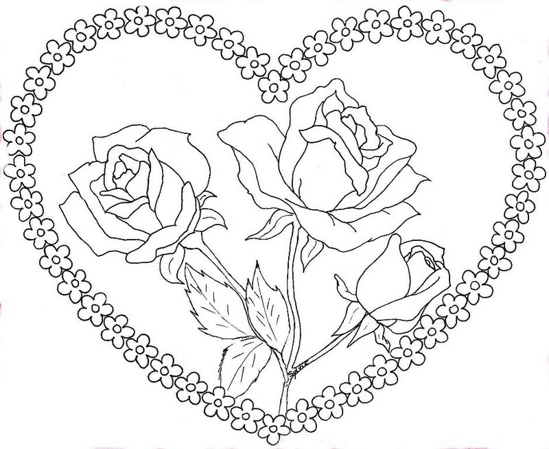 Heart And Rose Coloring Sheets for Girls