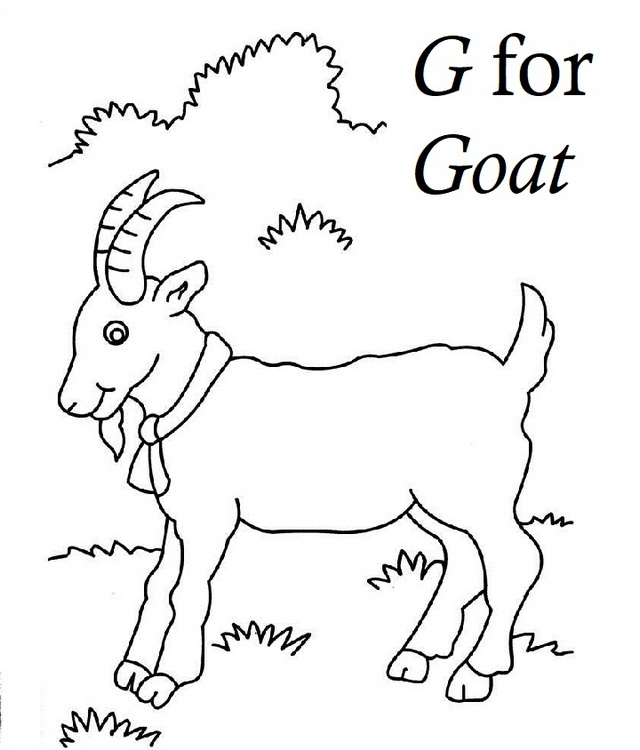 Letter G for Goat Coloring Sheet