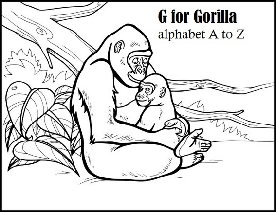 Letter G for Gorilla Coloring A to Z Alphabet Page