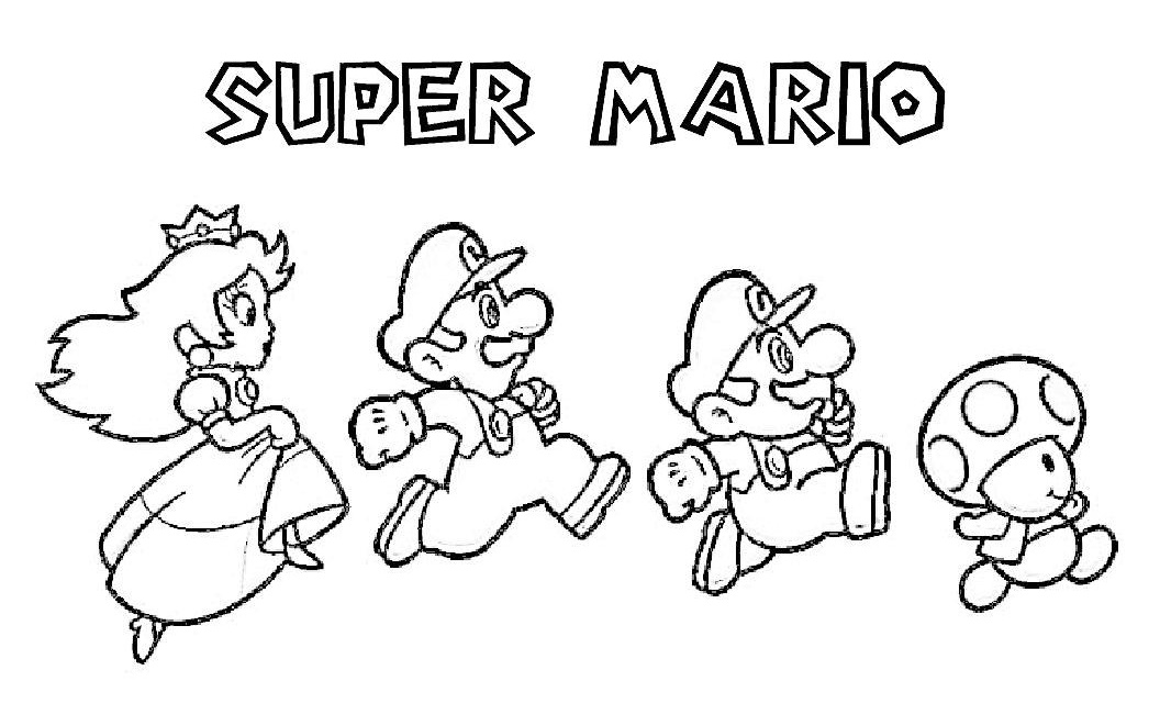 Princess Peach Super Mario Coloring Sheet