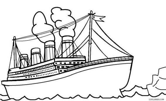 Titanic hitting iceberg Coloring Pages