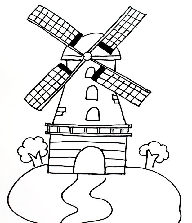 Windmills in the park coloring page