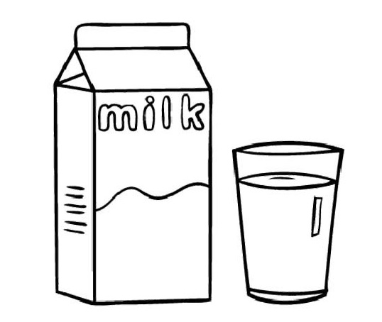 a box and a glass of milk coloring sheet