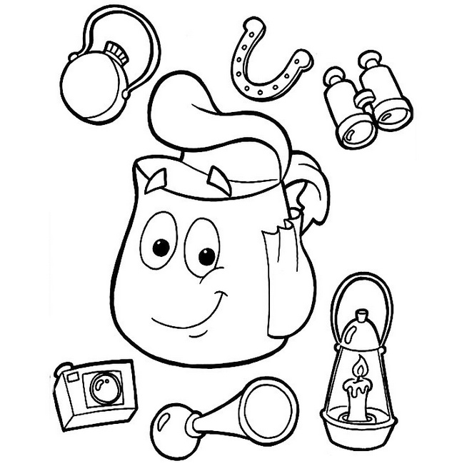backpacks contents dora coloring page for kids