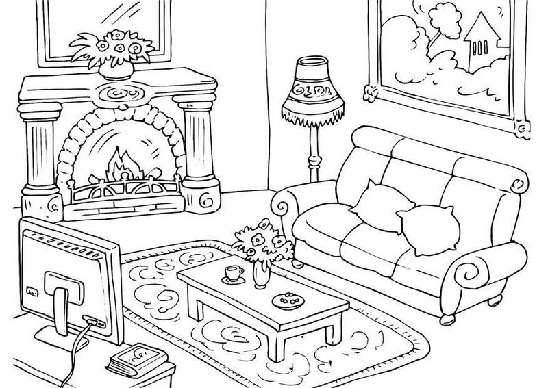 beautiful living room furniture coloring sheet