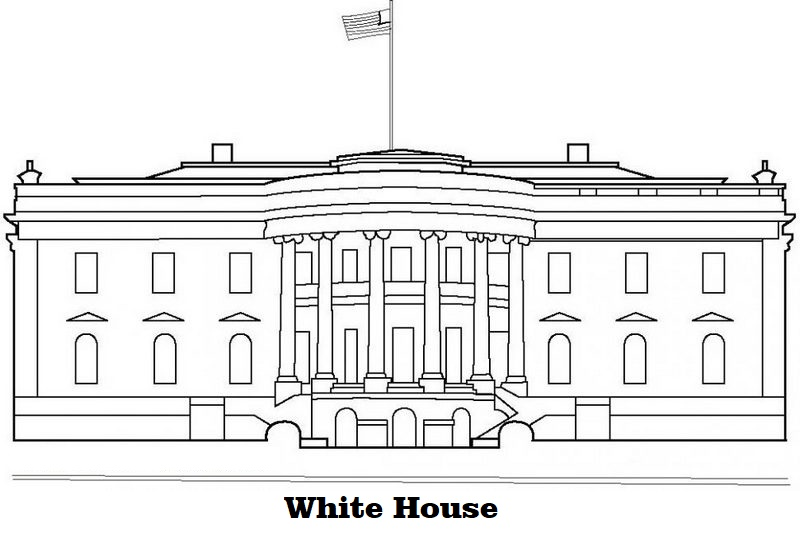 beautiful white house coloring sheet