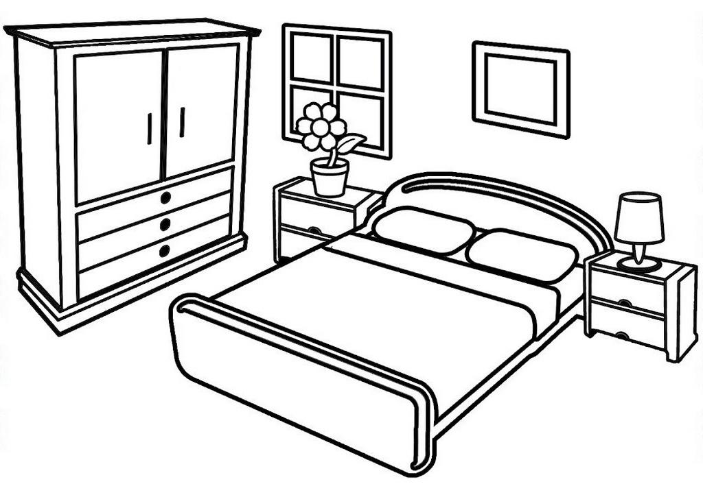 Раскраска спальня распечатать