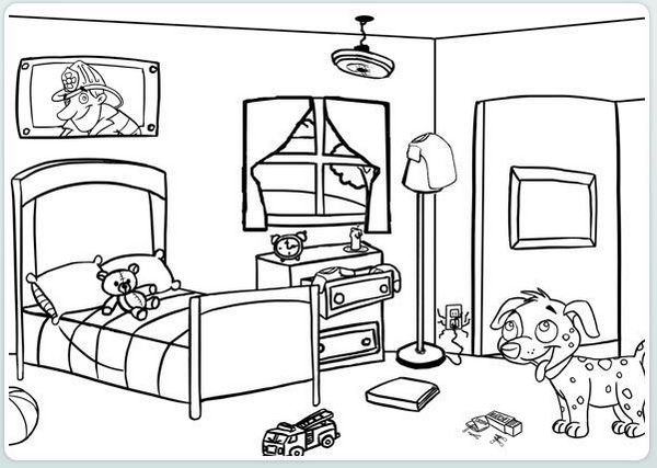 bedroom coloring page for kids